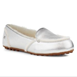 New UGG Hailey Slipper Loafer, Metallic Silver, 9